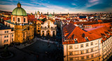 Stunning view of Prague old town on a sunset