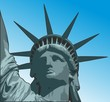 Statue of liberty close up portrait vector illustration with bronze patina and gradient blue background