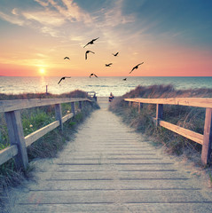 romantischer Abend am Strand