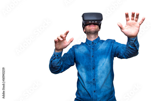 Poster Man wearing virtual reality goggles