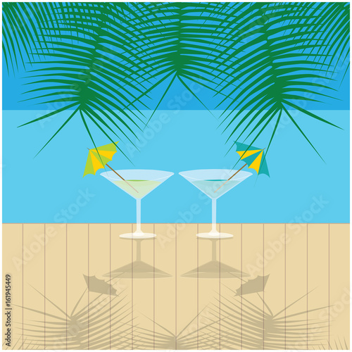 color vector summer holidays illustration, two drinks on wharf, palm leafs and blue sea