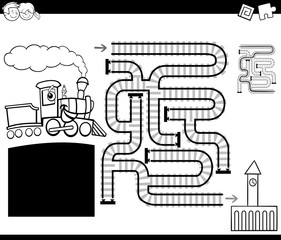 maze with locomotive coloring page