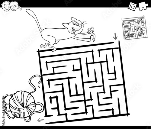 maze with cat and wool coloring page