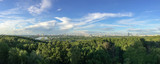 Panoramic view of Moscow from Krylatskoye District. Sunset time.