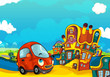 Cartoon sports car smiling and looking in the parking lot - illustration for children