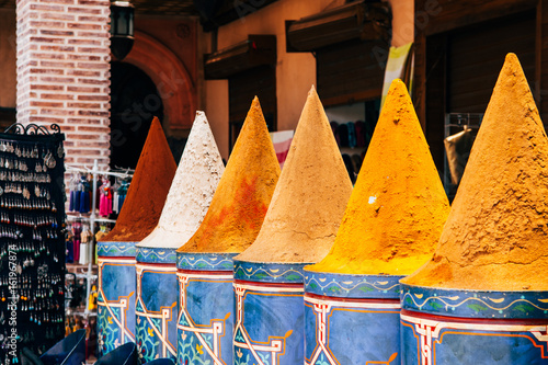 Fotobehang Marokko colorful piles of moroccan spices