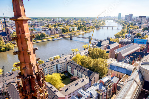 Aerial view on the Main river and buildings in Frankfurt city in Germany