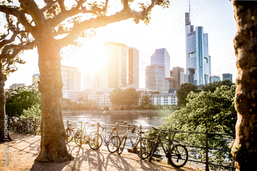 Poster View on the financial district with Main river and park during the sunset in Frankfurt city, Germany