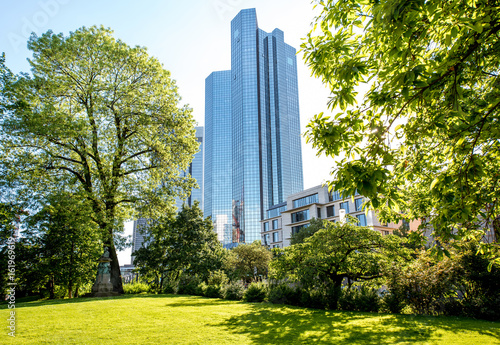 Plagát View on the green park and skyscraper in Frankfurt city