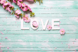 Word love and  border from pink almond flowers on turquoise wooden background. - 161970008