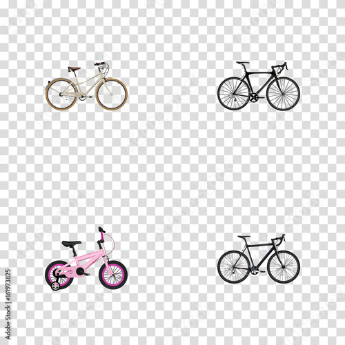 Realistic Childlike, Cyclocross Drive, Old And Other Vector Elements. Set Of Realistic Symbols Also Includes Road, Childlike, Bicycle Objects.