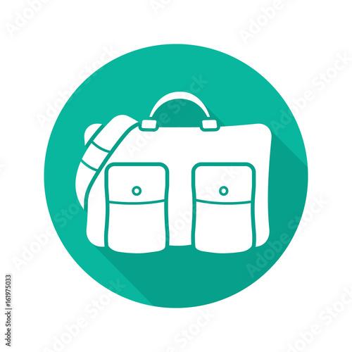 Travel bag flat design long shadow glyph icon