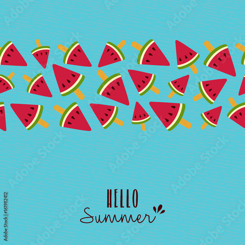 Hello summer quote watermelon pattern card design Poster