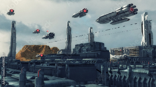 Foto op Canvas 3d render. Futuristic city and spaceship