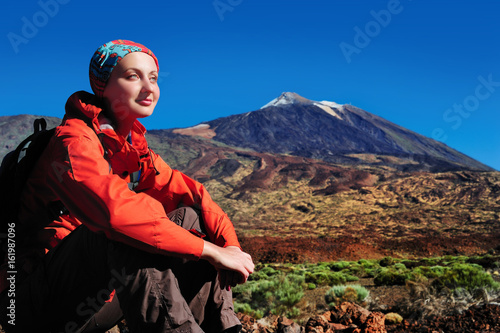 Hiker woman at the volcano Teide background Canary island Tenerife