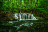 Fototapety waterfall glow in the forest