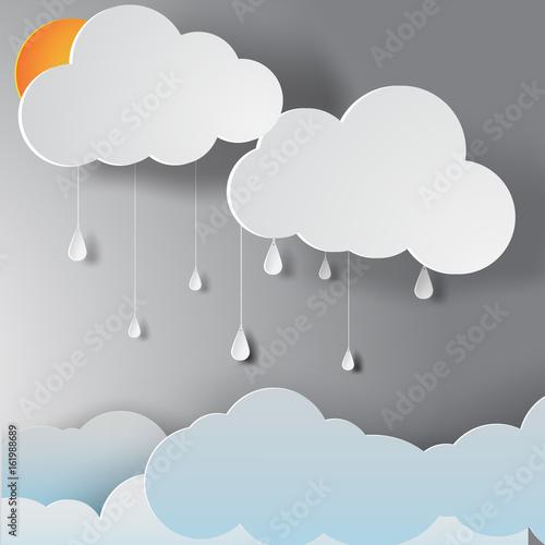 paper art of rainy season,vector
