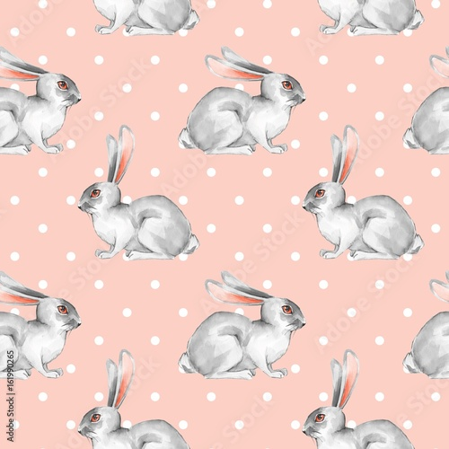 Seamless pattern with white rabbits 5 - 161990265