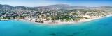 Panorama des Strandes von Varkiza, Vorort von Athen, Attika, Griechenland