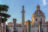 Trajan column, churche of Santa Maria di Loreto, and ruins of Trajan forum at dusk - 162001215
