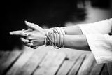 woman hands in yoga symbolic gesture mudra bw - 162006094