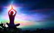 Leinwanddruck Bild - Woman Doing Yoga With Lotus Flowers And Chakra Gradient Colors - Spiritual Contemplation
