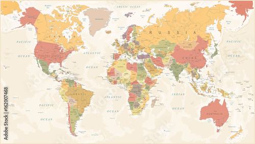 Vintage World Map - Vector Illustration - 162007468