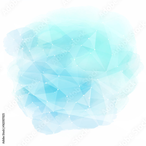 Low poly design on watercolour background