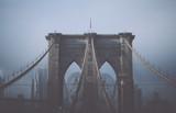 Foggy cloudy rainy day on Brooklyn Bridge. NYC  - 162008887