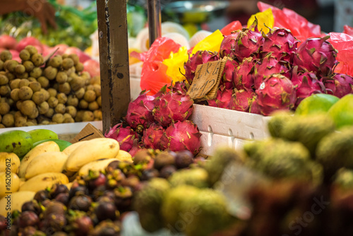 Colorful and fresh fruits on a market in Kuala Lumpur, Malaysia