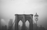 Brooklyn Bridge: b&w - tower arches & suspension cables - 162010452