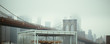 Brooklyn Bridge: cloudy view of tower arches & nyc skyline in background