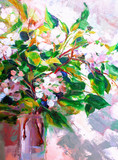 Oil Painting, Impressionism style, texture painting, flower still life painting art painted color image,