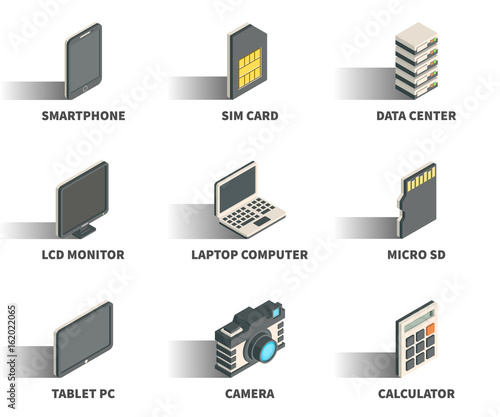 Isometric 3D web icon set - Smartphone, sim card, data center, monitor, laptop computer, micro sd, tablet pc, camera, calculator.
