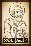 Painting in Hand Drawn Style with Saint Paul Image, Vector Illustration