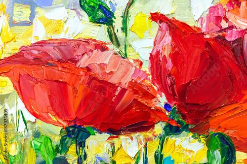 Oil Painting, Impressionism style, texture painting, flower still life painting art painted color image, © kolyadzinskaya