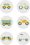 Cartoon cars and vehicles icons in flat style. Bright icons isolated on grey backgrounds