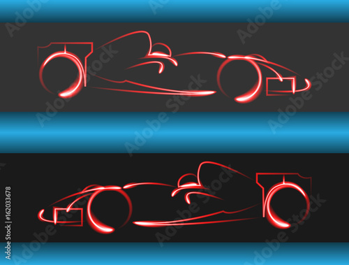 Tuinposter F1 Set of formula 1 one racing car icons. Vector