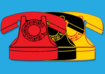 Pop art. Téléphone vintage