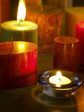 Assorted colours candles and tea light candles