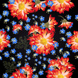 Beautiful floral pattern with bright chamomilies and blue flowers