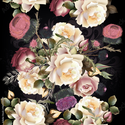 Botanical floral pattern with rose flowers for design. Ideal for fabric - 162039679