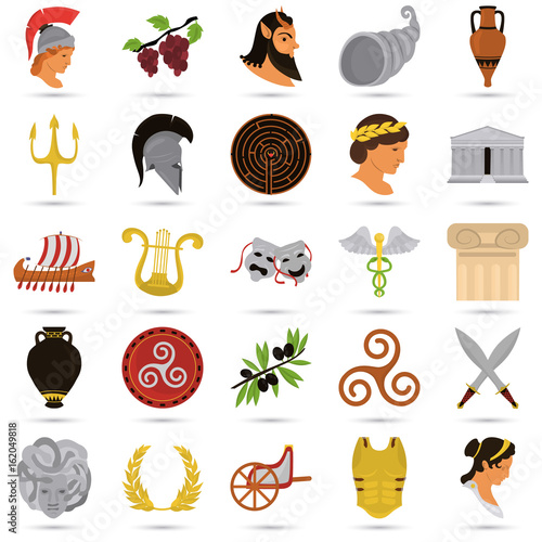 Ancient Greece color flat icons set for web and mobile design