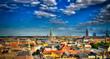 Leinwanddruck Bild - Panoramic aerial cityscape of Copenhagen city in Denmark