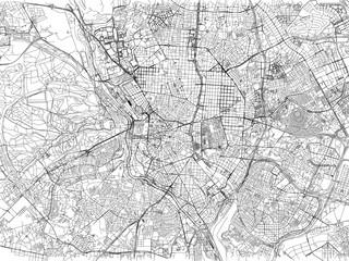 Cartina di Madrid, città, strade e vie, Spagna