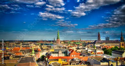 Leinwanddruck Bild Panoramic aerial cityscape of Copenhagen city in Denmark