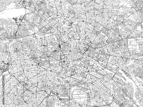 Cartina di Berlino, città, strade, Germania, vista satellitare - 162054602