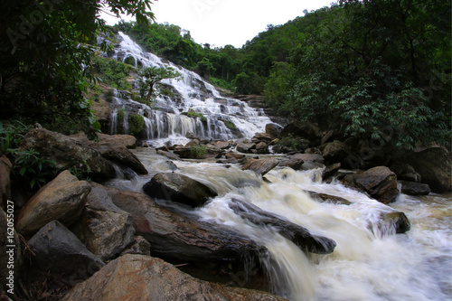 Beautiful waterfall in tropical forest, Southeast Asia. - 162055027
