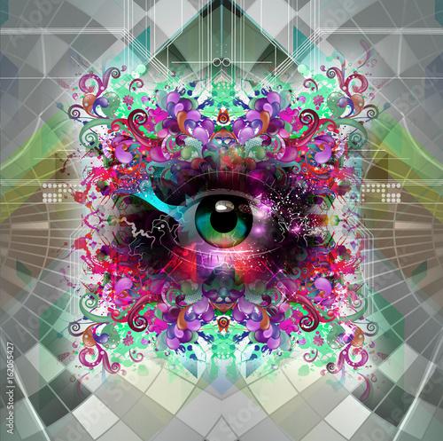 Aluminium Reznik Цветной обрамленный глаз, абстрактная иллюстрация