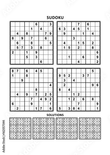Four Sudoku Puzzles Of Comfortable Easy Yet Not Very Easy Level